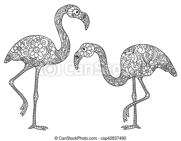 Two flamingos coloring vector for adults - csp42837490