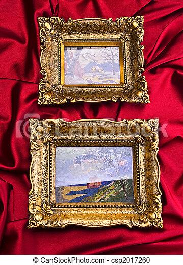Two Frames Gold Frame On Red Satin