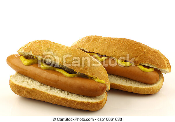 two freshly homemade hot dogs - csp10861638