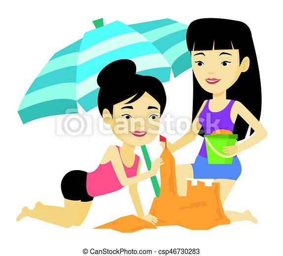 two friends building sandcastle on beach young asian vector rh canstockphoto com
