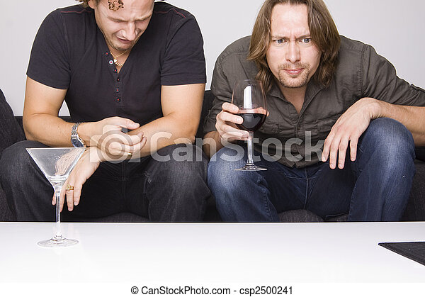 two friends drinking at home - csp2500241