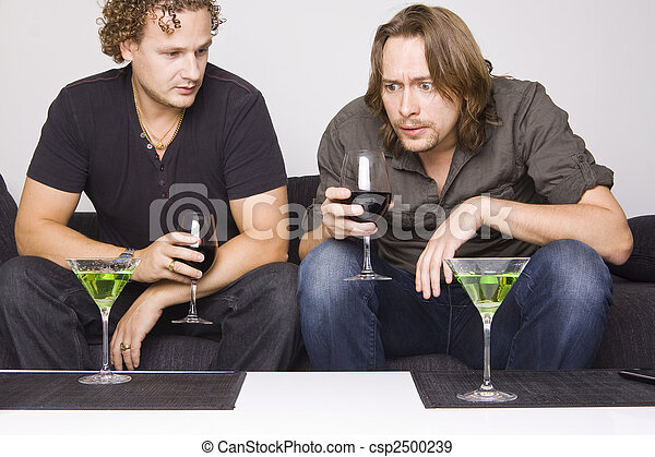 two friends drinking at home - csp2500239