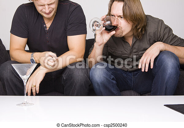 two friends drinking at home - csp2500240