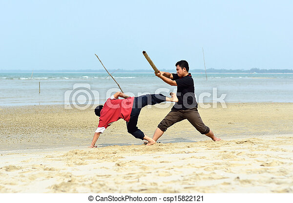Two friends fighting near the beach - csp15822121