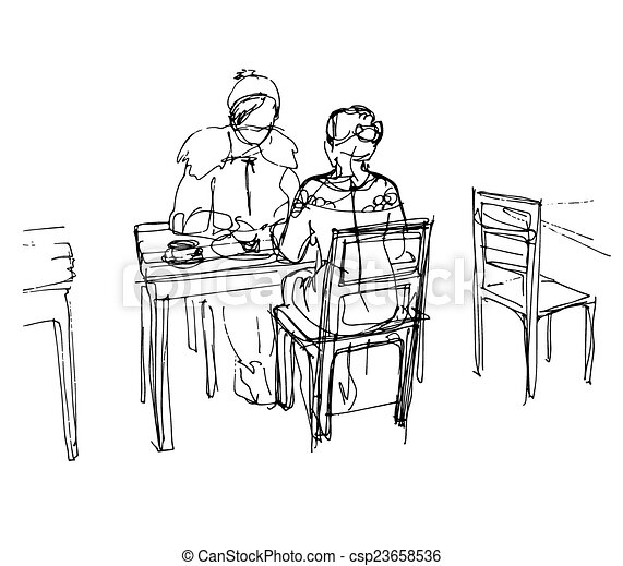 two friends in a cafe at a table drinking tea coffee - csp23658536