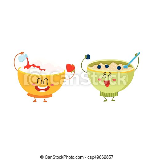 Two funny bowl characters - cottage cheese, oatmeal porridge, breakfast options - csp49662857