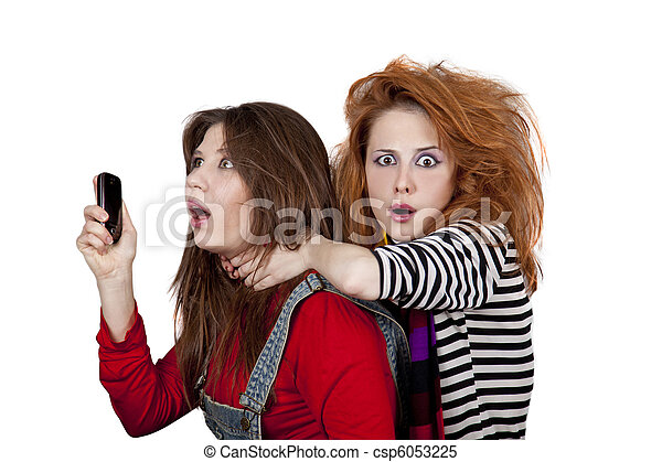Two funny women. - csp6053225