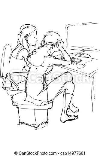 two girls are at a table with a computer - csp14977601