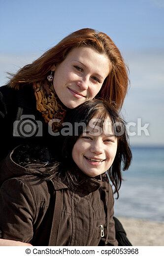 Two girls at beach. - csp6053968