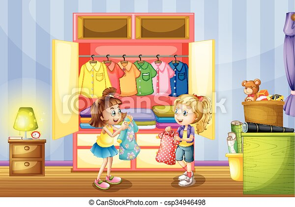 Two girls choosing clothes from closet - csp34946498