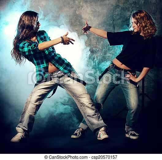 Two Girls Dancing Modern Hip Hop Dancers Over Grunge Background Urban Disco Style
