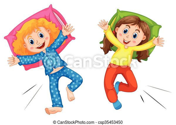 two girls in pyjams at slumber party illustration rh canstockphoto com slumber party clip art free