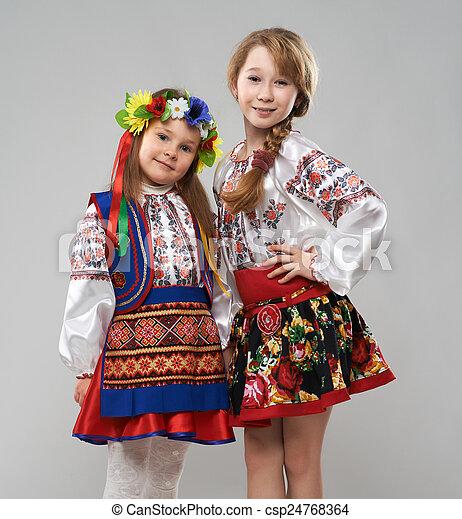 Two Girls In Slavic Folk Costumes Two Girls In The Slavic Folk