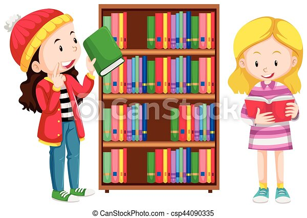 Two girls in the library - csp44090335