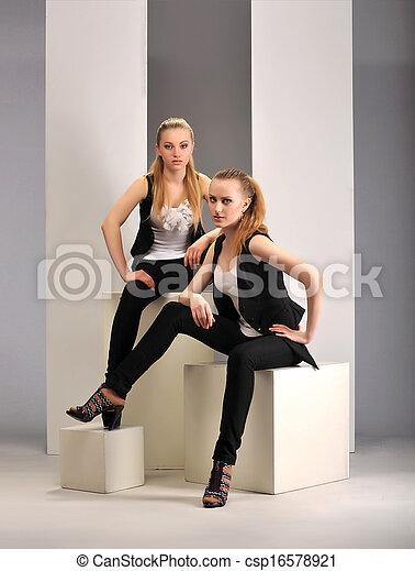 two girls model - csp16578921