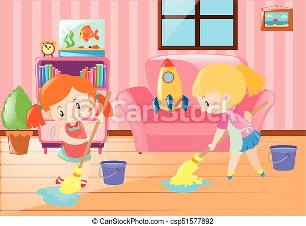 Two girls mopping living room illustration eps vectors - Search Clip ...