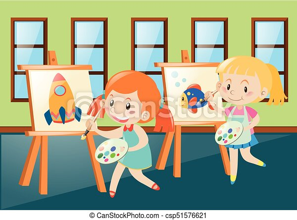 Two Girls Painting On Canvas In Classroom   Csp51576621