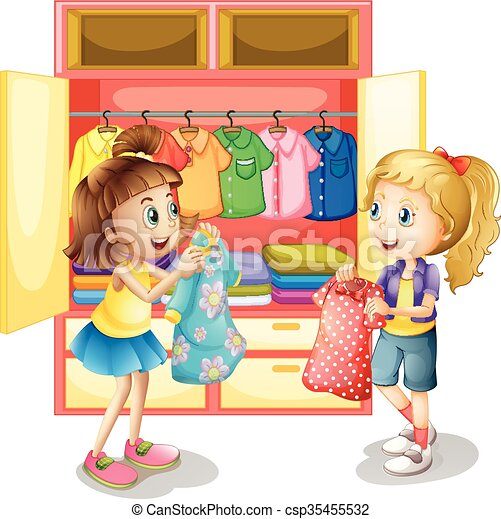 Two girls picking out clothes from closet - csp35455532