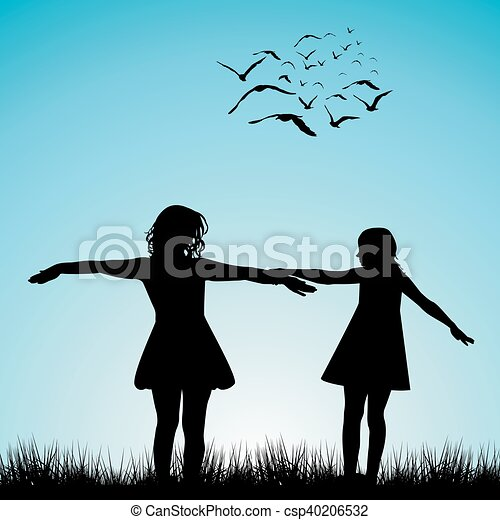 Two girls playing outdoor - csp40206532