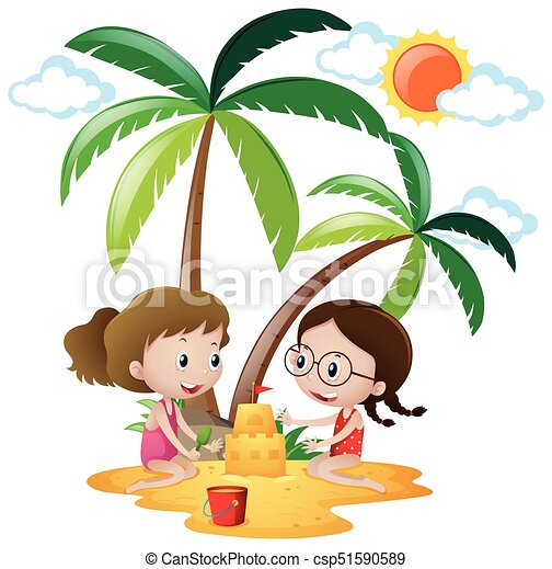 two girls playing sandcastle on the sand illustration vector rh canstockphoto com sand castle clip art black and white clipart sandcastle outline