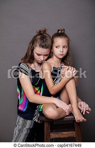 Two Girls Posing Clothes Fashion