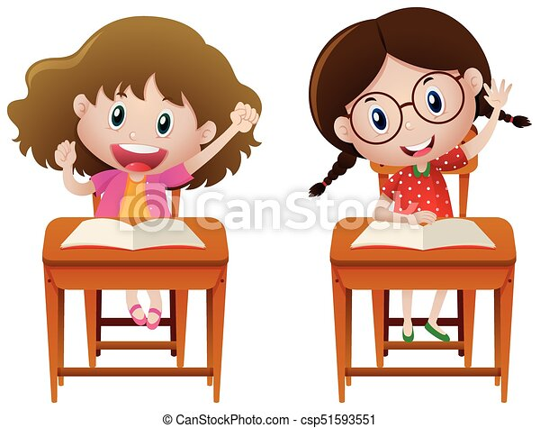 two girls studying in class illustration clipart vector search rh canstockphoto com Cartoon Students Studying little girl studying clipart