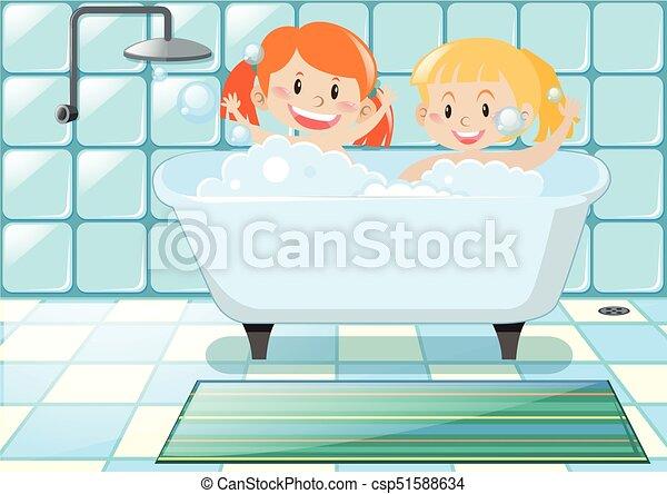 two girls taking bubble bath illustration vectors search clip art rh canstockphoto com bubble bath clipart images Bubble Bath Cartoon