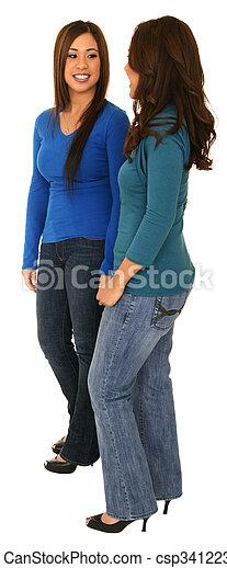 Two Girls Talking - csp3412238