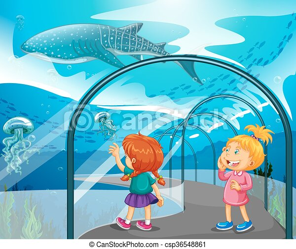 two girls visiting aquarium illustration clip art vector search rh canstockphoto ca empty aquarium clipart aquarium clip art free