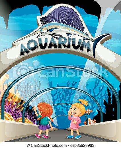 two girls visiting aquarium illustration