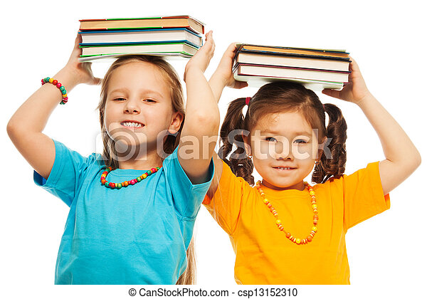 Two girls with books - csp13152310