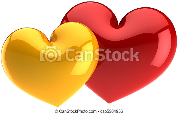 Two Glamour Hearts Love Symbols Two Heart Shapes Couple Colored