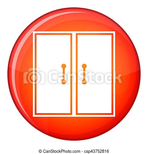 Two glass doors icon, flat style - csp43752816