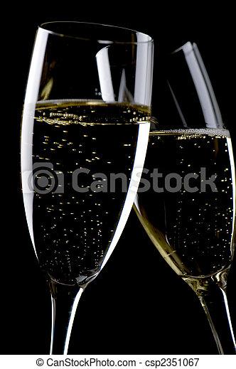 Two glasses champagne macro - csp2351067