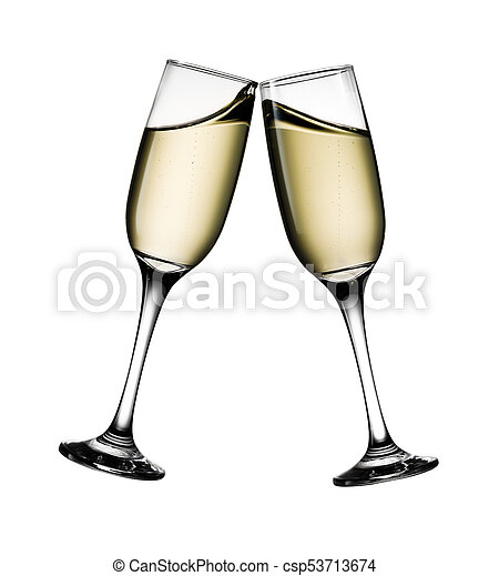 Two glasses of champagne isolated on white background - csp53713674