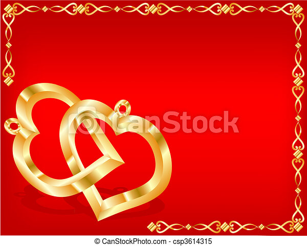 Two gold hearts - csp3614315