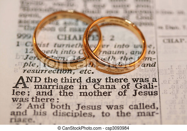 Two Gold Wedding Bands On Verse From Bible Macro