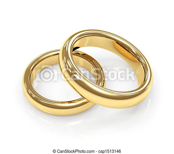 Two gold wedding rings - csp1513146