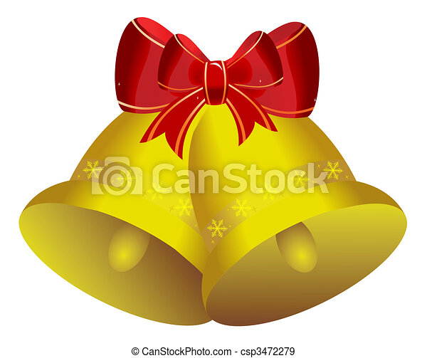 Two golden christmas bells with red bow - csp3472279
