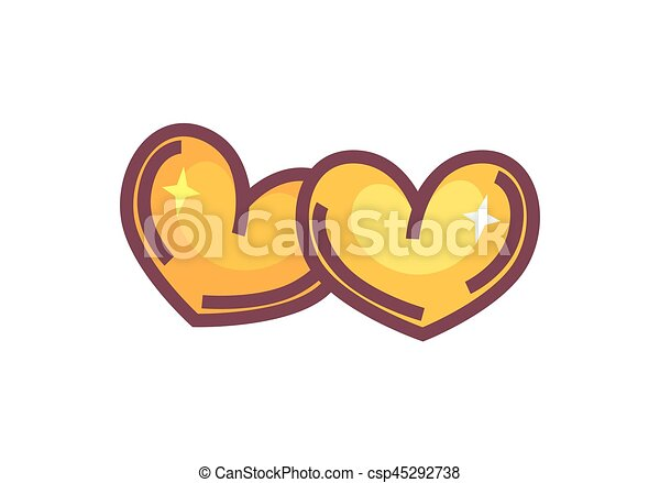 Two Golden Hearts Isolated On White Symbol Of Eternal Love Two