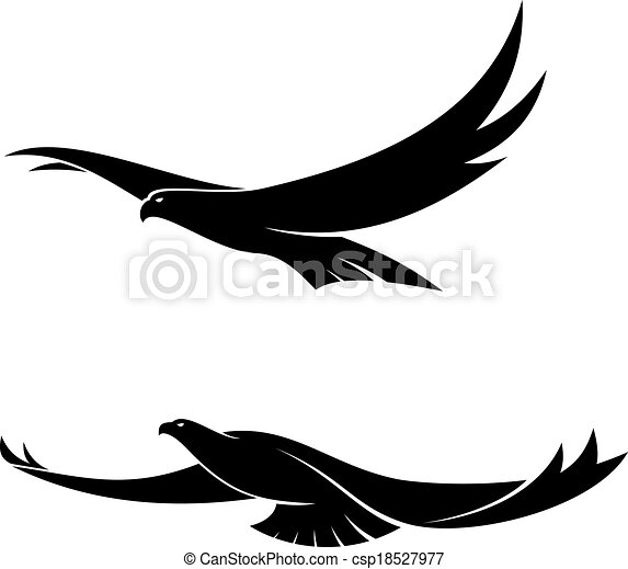 two graceful flying birds silhouette in black of two