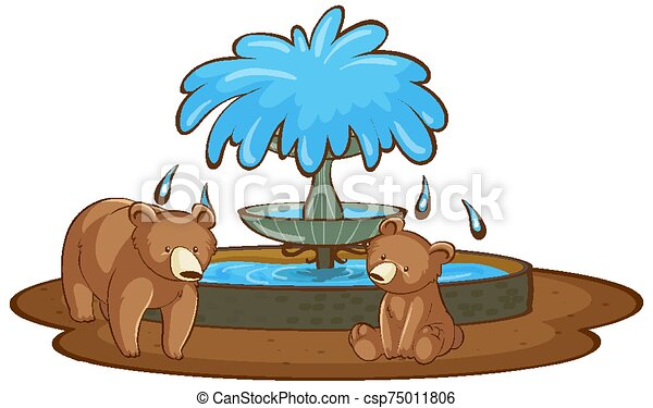 Two grizzly bear on white background - csp75011806