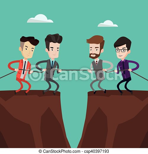 Two groups of business people pulling rope. - csp40397193