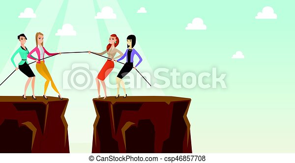 Two groups of business people pulling rope. - csp46857708