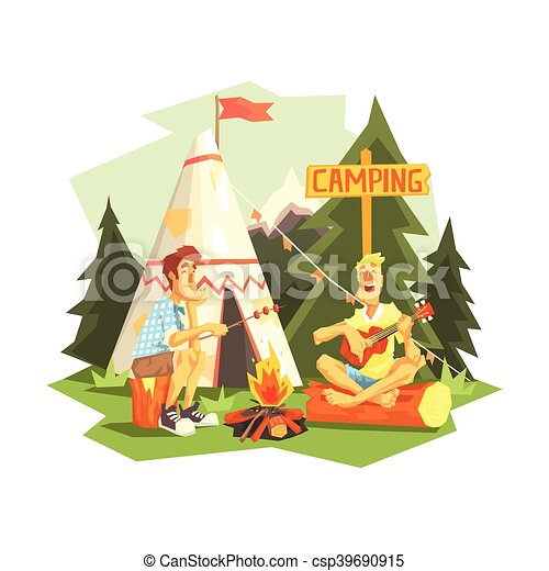 Two Guys Enjoying Camping In Forest