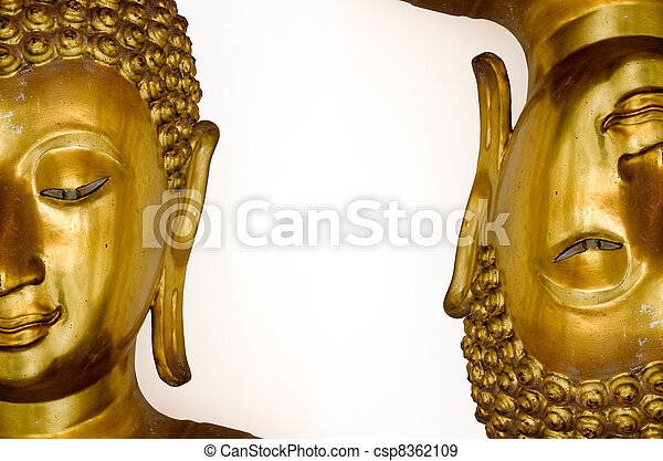 Two Half Face Of Gold Buddha Image Stock Photo