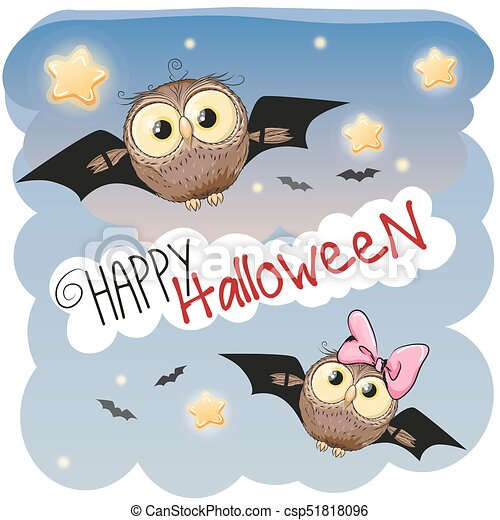 Two Halloween Owls Cute With Bat Wings