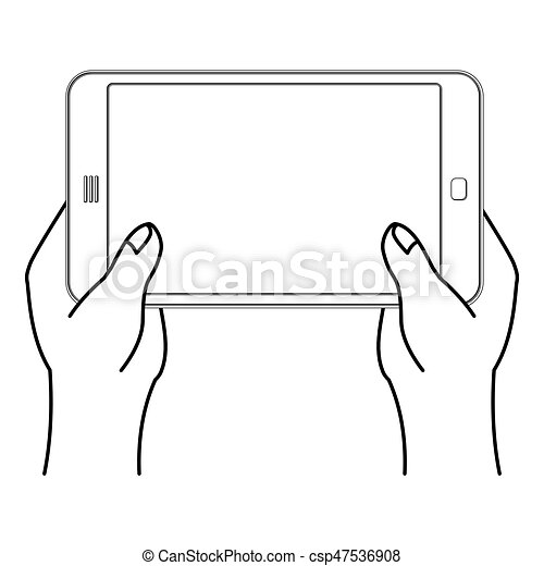 two hand and tablet smartphone man is holding mobile phone