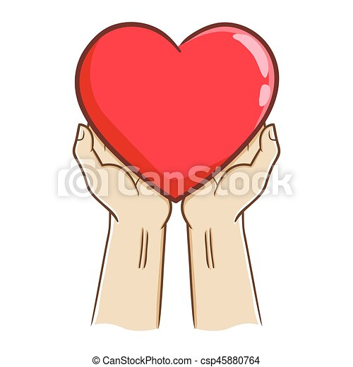 Two Hand Holding A Big Red Heart Love Symbol Vector Stock Of Two
