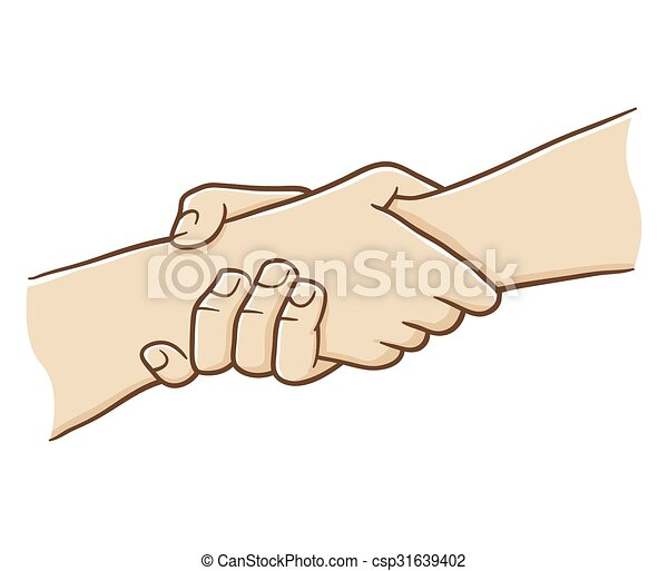 Two Hand Holding Each Other With Strong Grip Vector Illustration